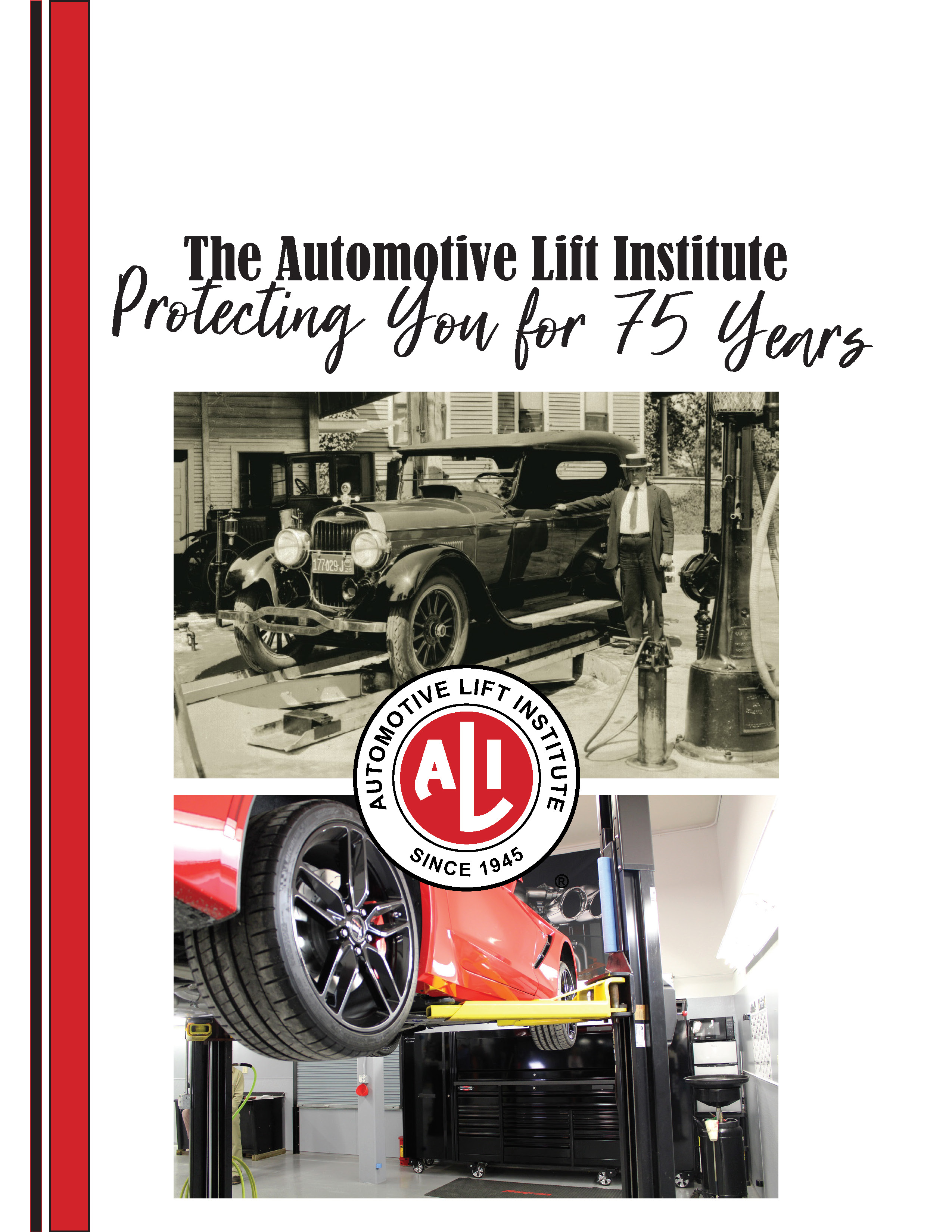 Book cover with black and white image of old car on a lift above color image of a new car on a lift