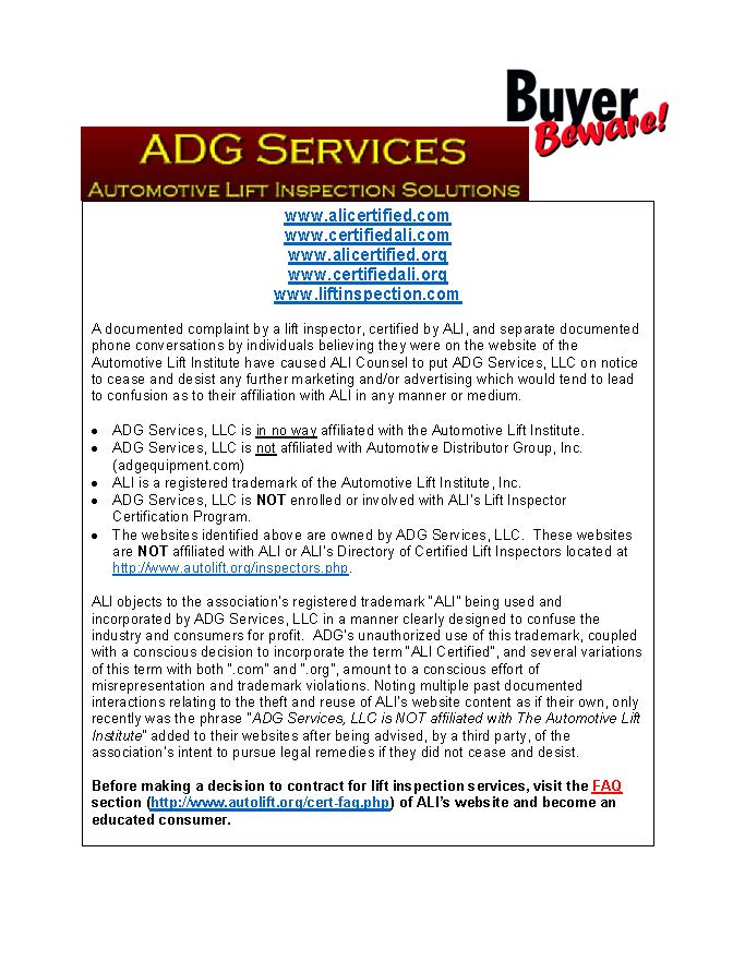 ALI-Buyer-Beware-Counterfeit-Claims-ADG-Services-LLC