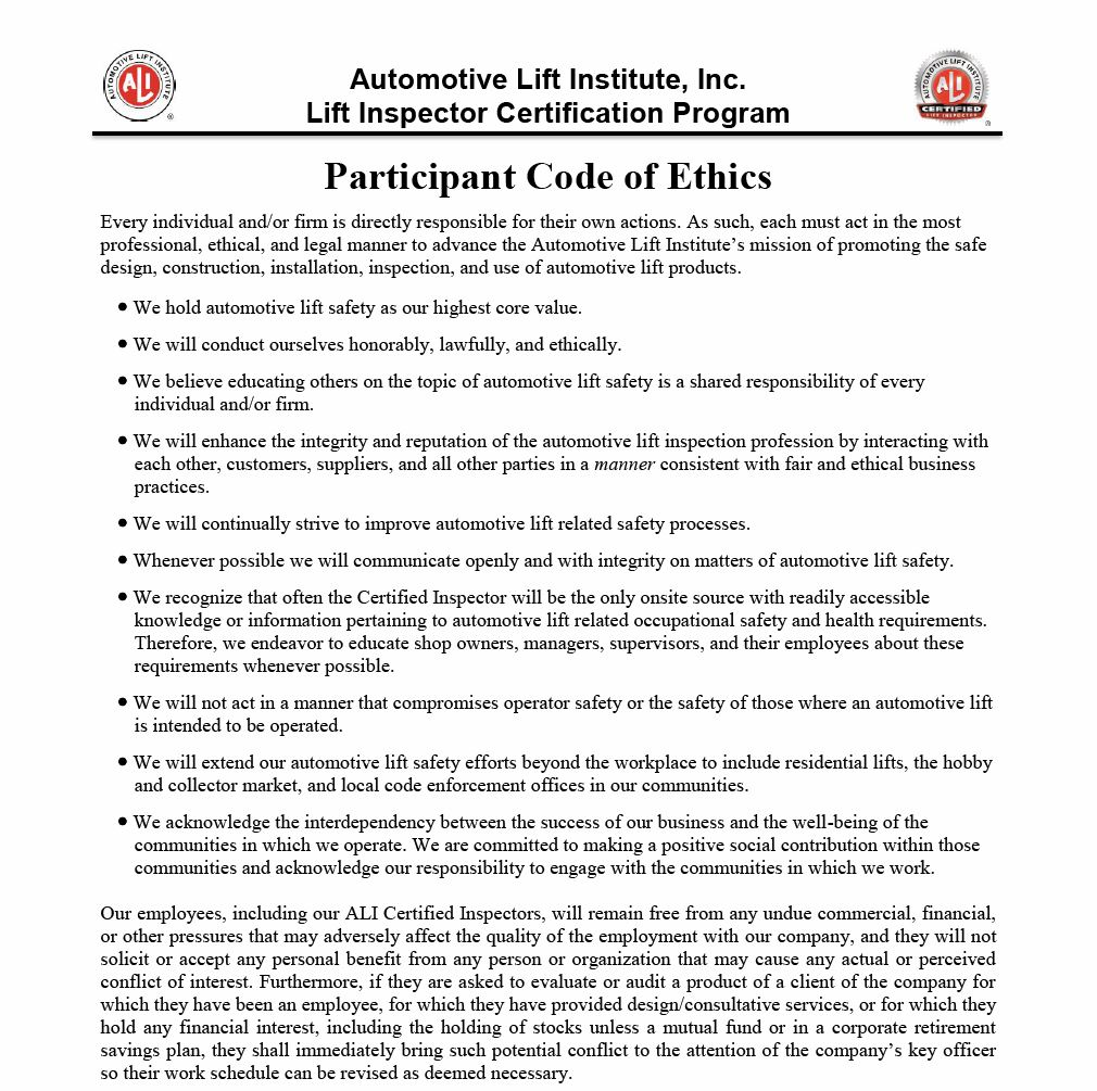 ALI Participant Code of Ethics