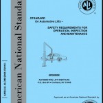 "Blue book titled ""Standard for Automotive Lifts – Safety Requirements for Operation, Inspection and Maintenance"""