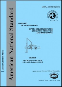 ANSI/ALI ALOIM: 2013 Standard for Automotive Lifts – Safety Requirements for Operation, Inspection and Maintenance Image