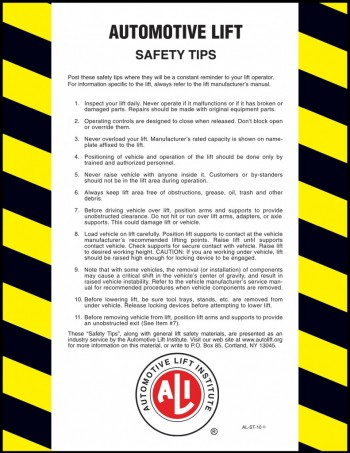 Automotive Lift Industry Safety Tips Card
