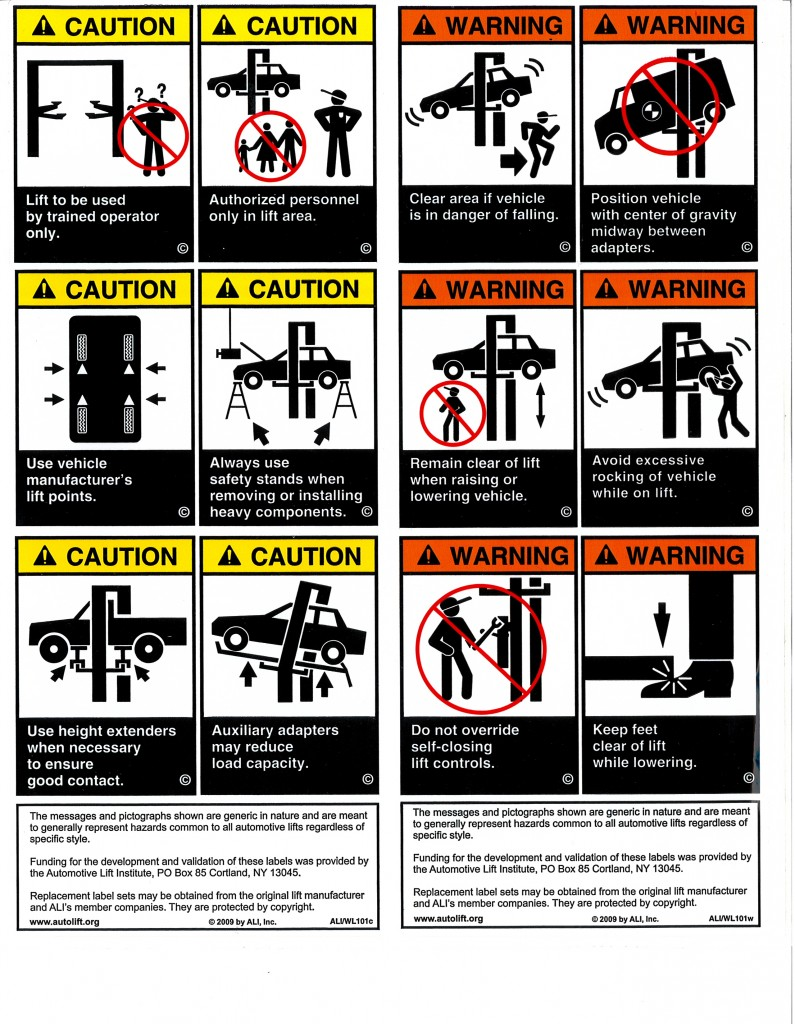 Automotive Lift Industry Uniform Warning Labels And