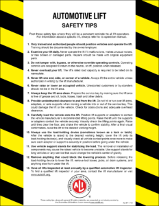ALI Automotive Lift Safety Tips Card Image