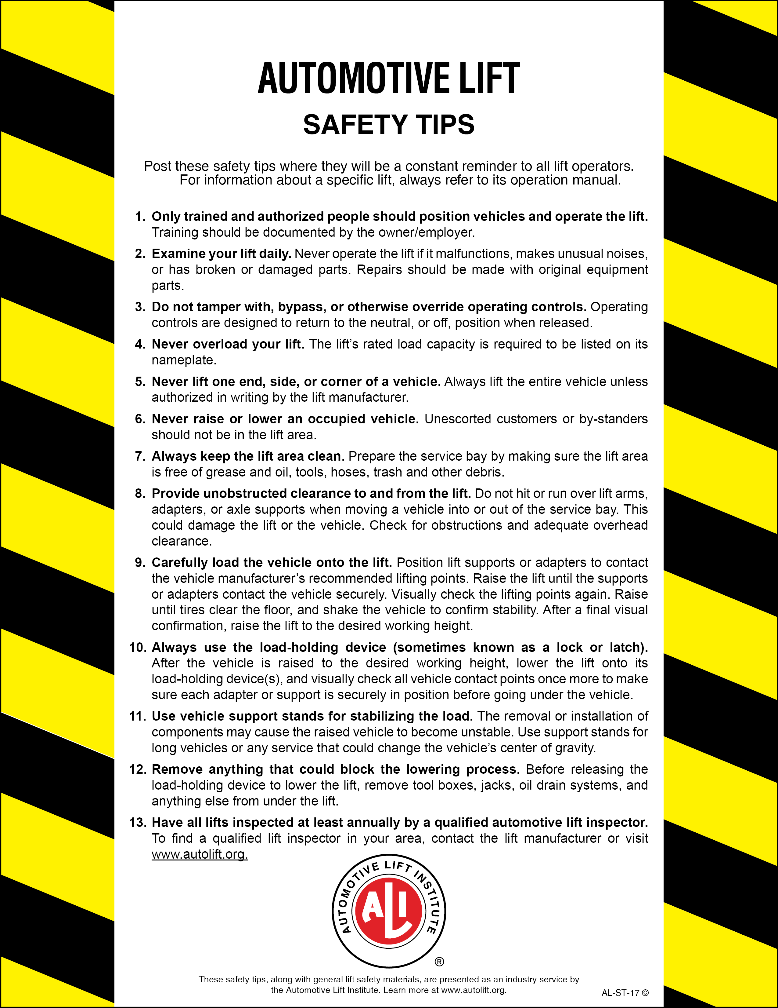 Auto Lift Safety : Automotive lift industry safety tips card