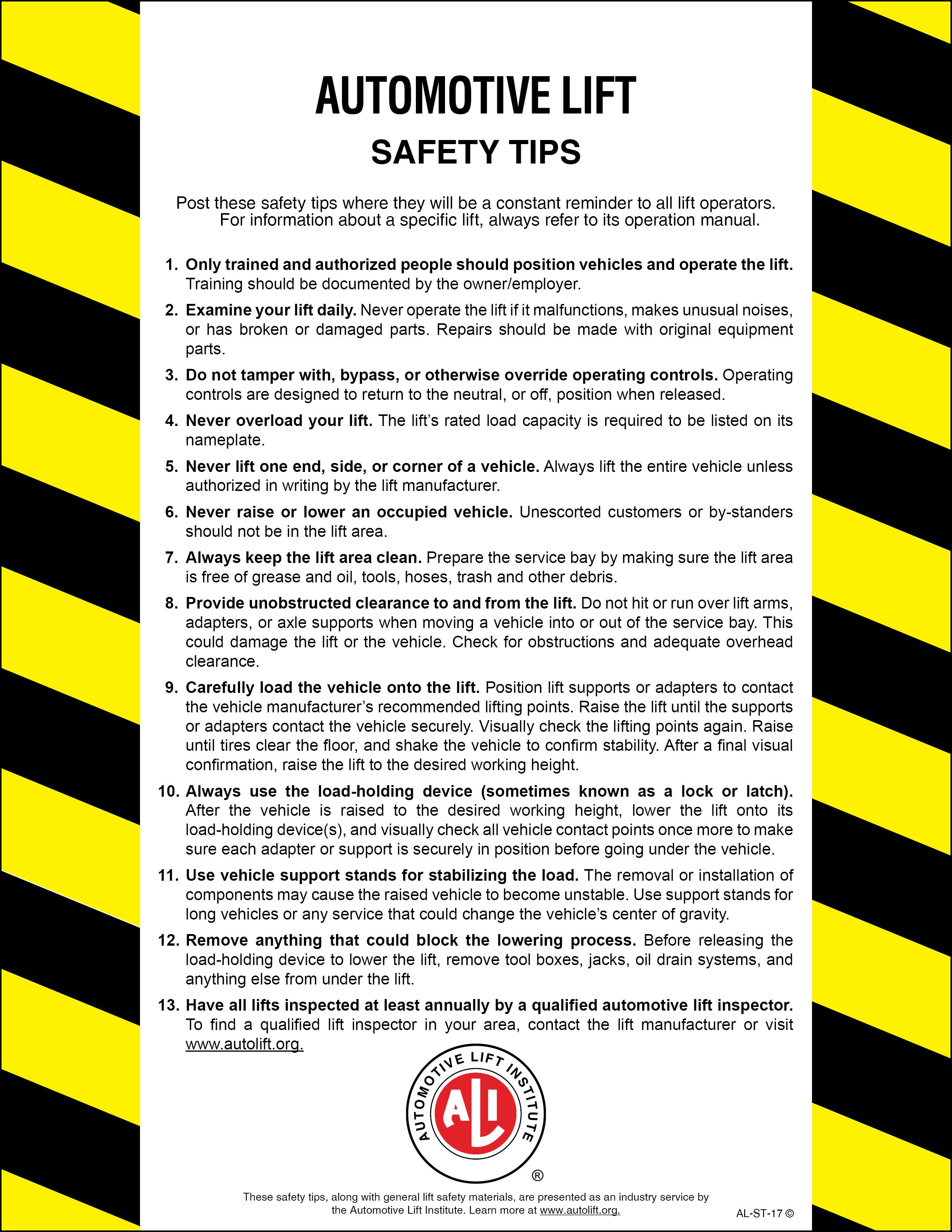 Automotive Lift Safety : Automotive lift industry safety tips card