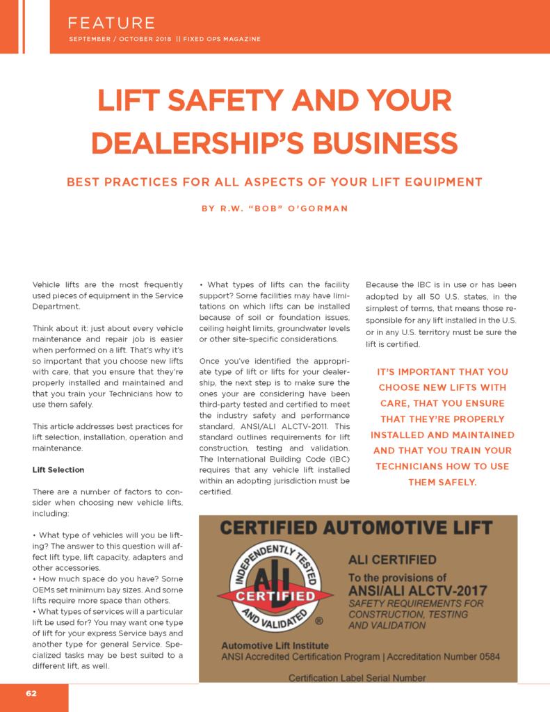 Automotive Lift Selections