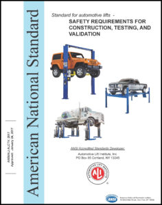 """White book titled Standard for automotive lifts """"Safety Requirements for Construction, Testing and Validation"""""""