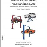 "White book with three vehicles on lifts under the words ""Vehicle Lifting Points for Frame Engaging Lifts"""